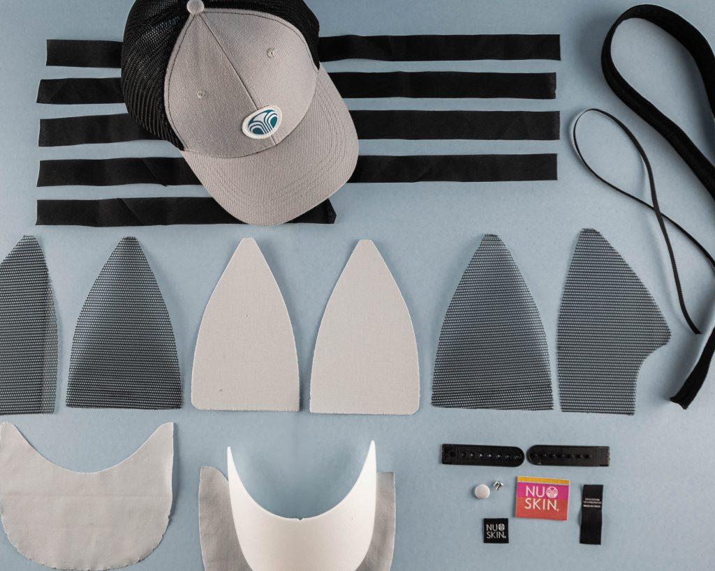 Deconstructed Hat-3 ful cap components