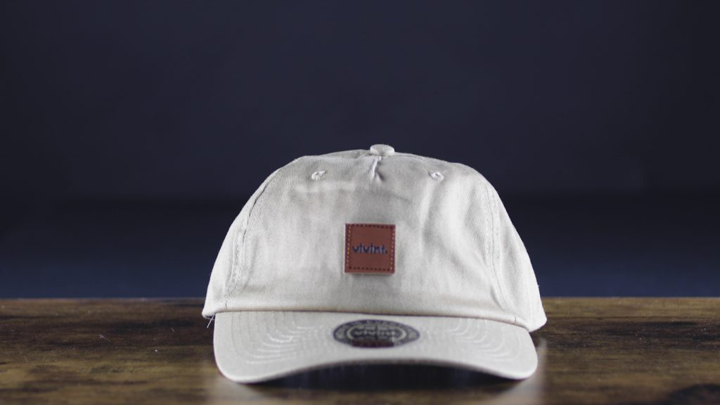 custom leather patches on grey hat