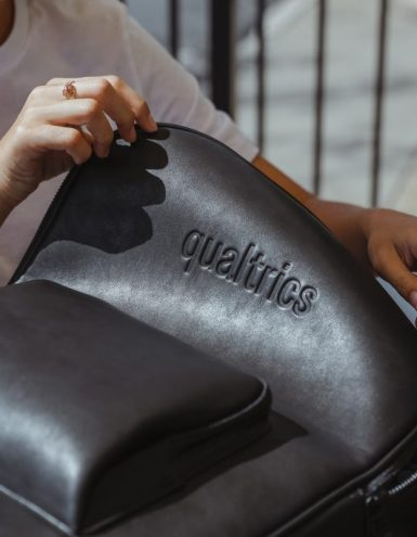 custom branded leather backpack